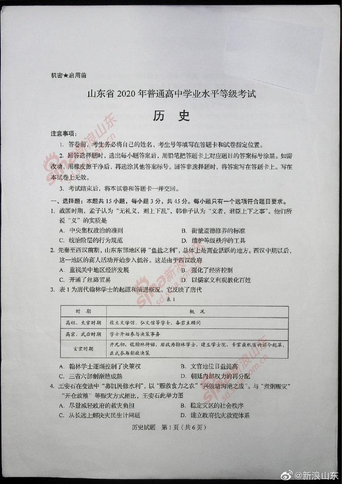 2020新高考历史真题及参考答案(全国卷Ⅰ山东)