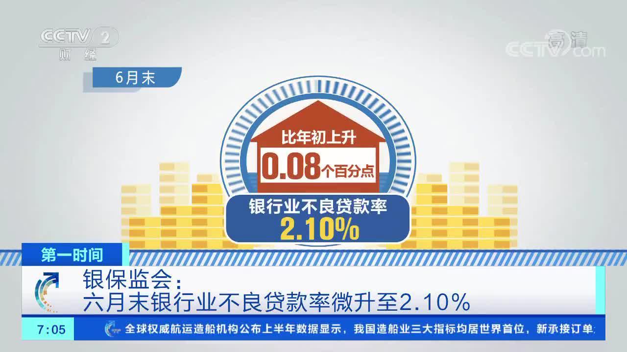 [第一时间]银保监会:六月末银行业不良贷款率微升至2.10%