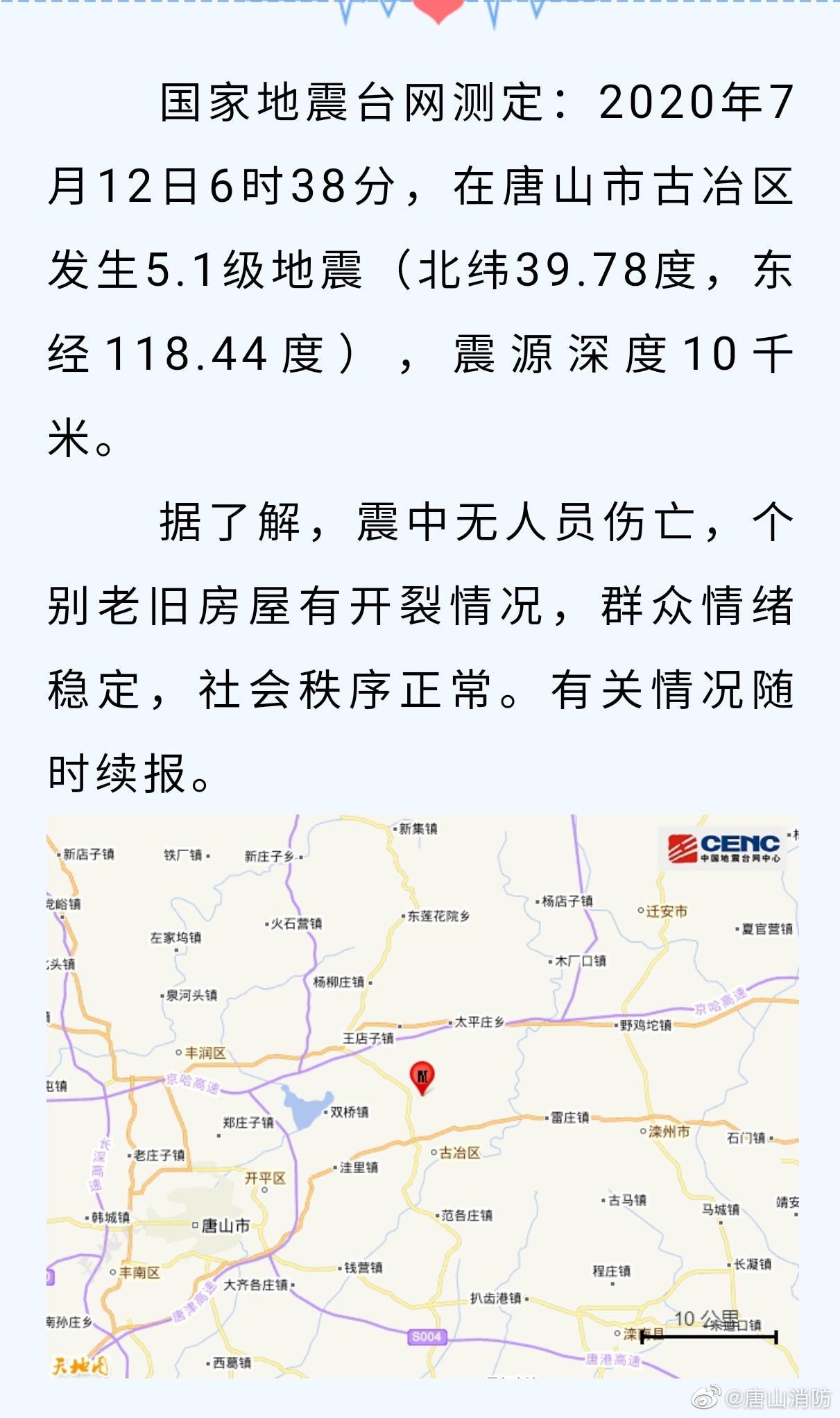 唐山消防:辖区消防救援力量已到达震中 交通通信电力均正常图片