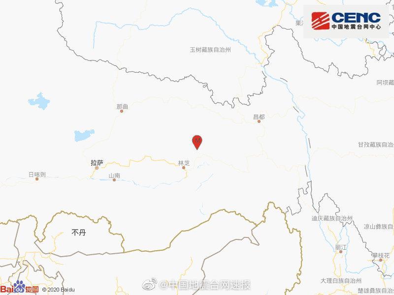 西藏林芝市波密县发生3.1级地震,震源深度7千米图片