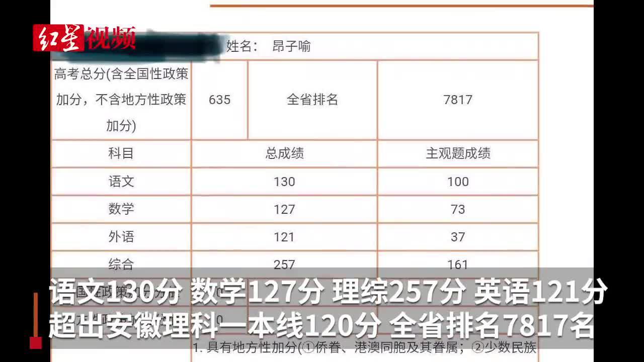 安徽盲人考生高考635分,超一本线120分