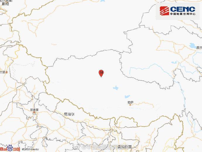 西藏那曲市尼玛县发生3.8级地震,震源深度6千米图片