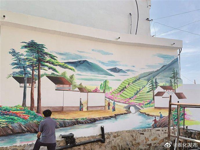 奉化草根画家绘就5米现代村居图 共耗费4天时间绘制