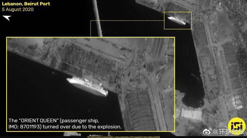 黎巴嫩港口爆炸前后卫星图对比:炸出直径约140m的坑
