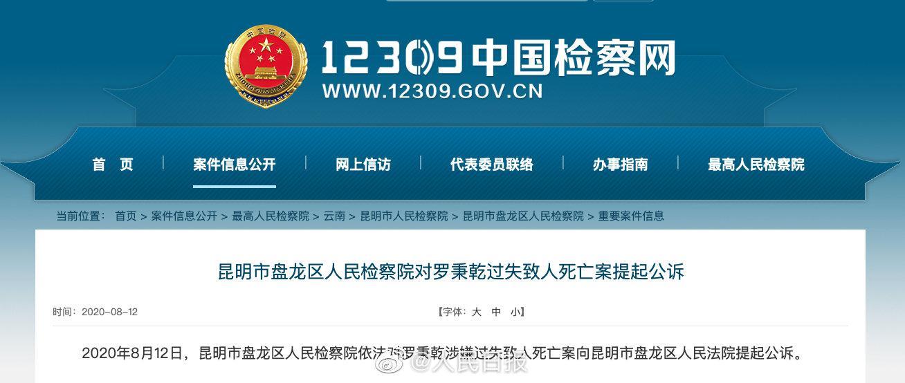 昆明检方:李心草溺亡案件嫌疑人被提起公诉