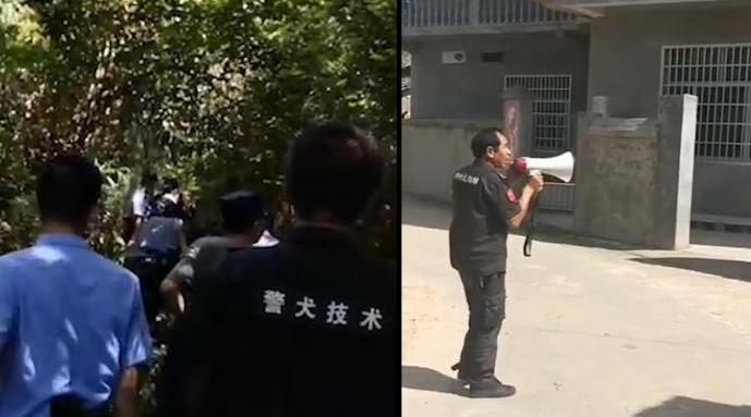 抚州杀人嫌犯再犯案:村内敲锣提醒防范  警方带警犬搜捕