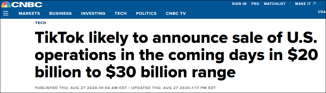 美媒:TikTok或48小时内完成出售 估值200至300亿美