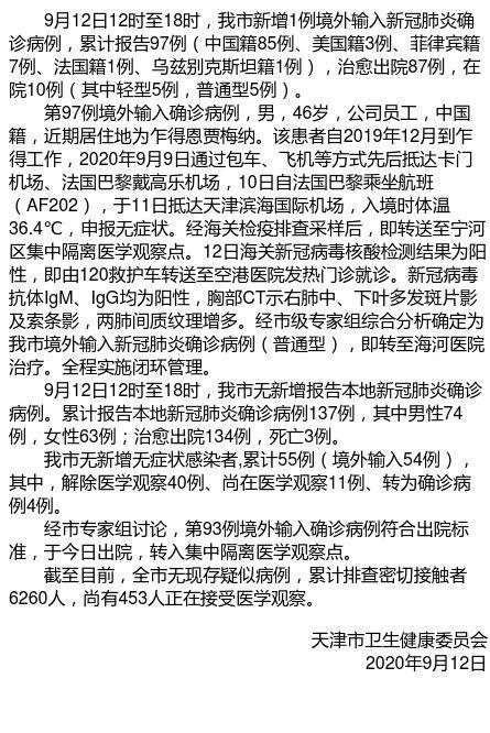 9月12日12时至18时 天津新增1例境外输入新冠肺炎确诊病例图片