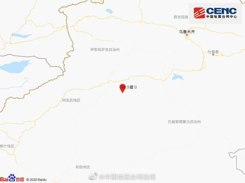 新疆阿克苏地区库车市发生4.9级地震 震源深度10千米图片