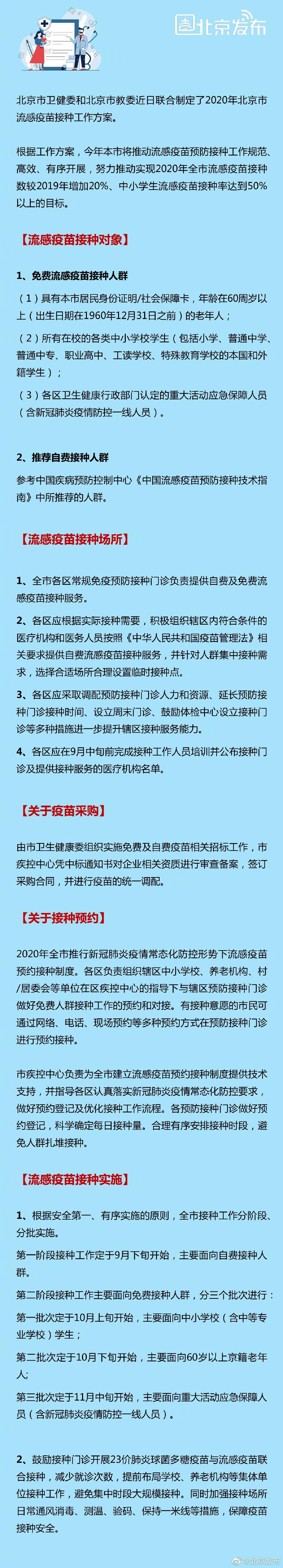 北京流感疫苗接种工作方案:户籍老人、中小学生免费图片
