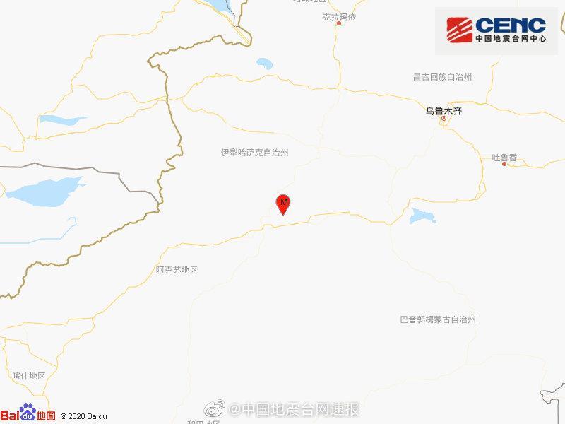 新疆阿克苏地区库车市发生3.8级地震 震源深度10千米图片