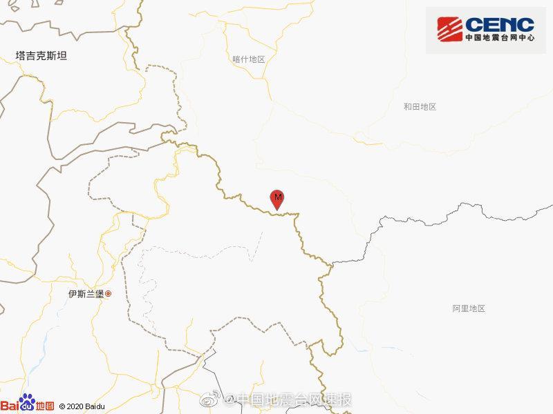 新疆喀什地区叶城县发生3.2级地震 震源深度78千米图片