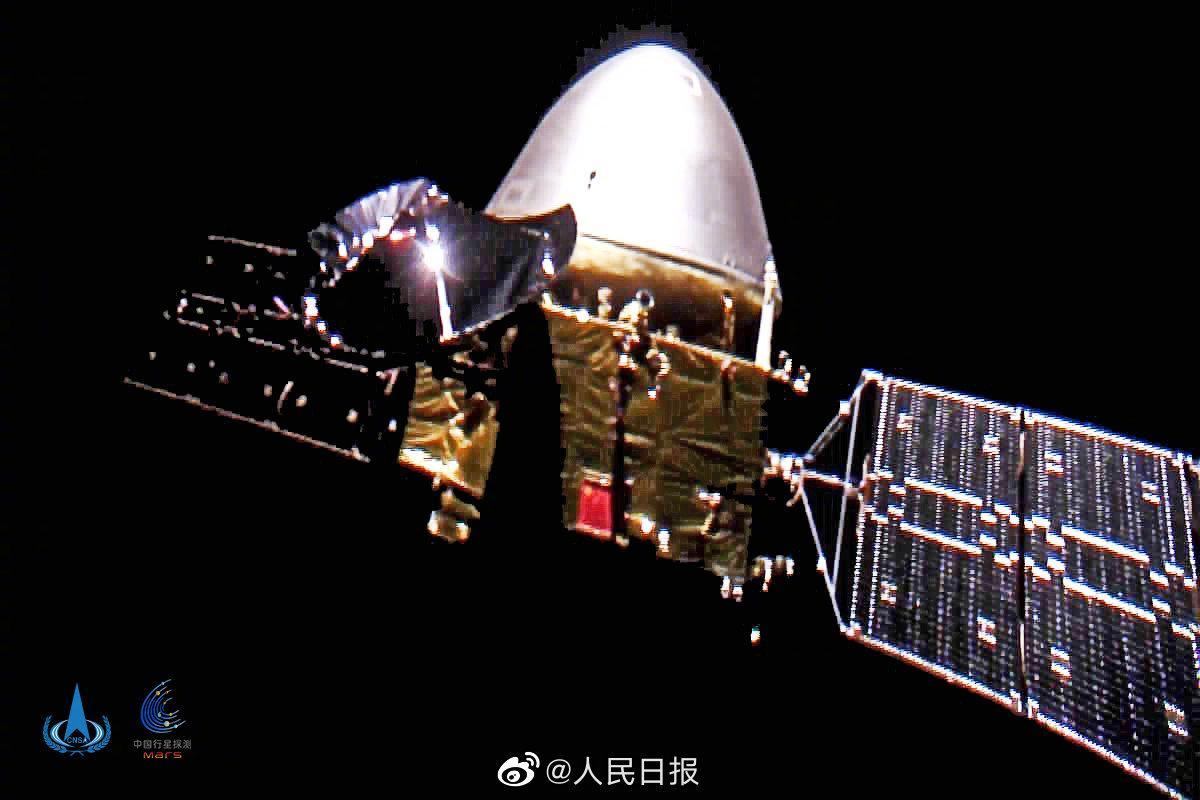 首次深空自拍!航天局发布天问一号探测器飞行图像图片