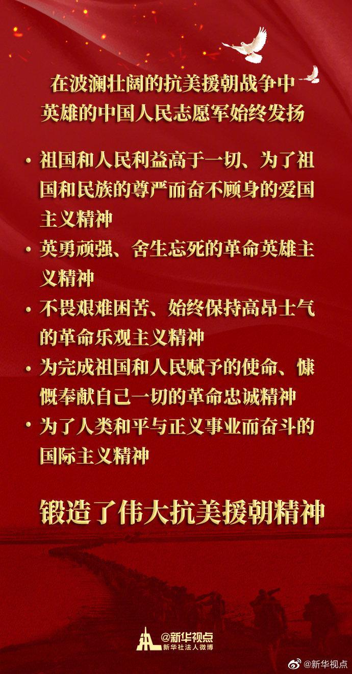习近平:在波澜壮阔的抗美援朝战争中,英雄的中国人民志愿军锻造了伟大抗美援朝精神图片