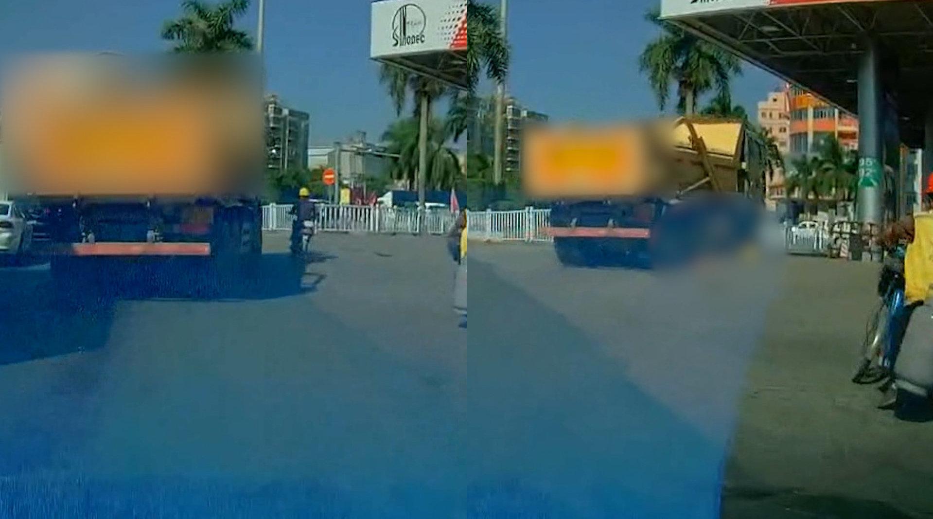 深圳一泥头车转弯将电动车男子卷入车底  目击者:他正好在盲区