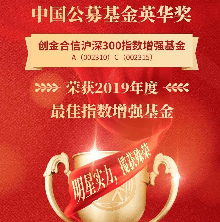 创金合信沪深300 | 荣获中国公募基金英华奖—最佳指数增强基金