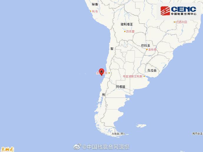 智利中部沿岸近海发生6.1级地震,震源深度10千米