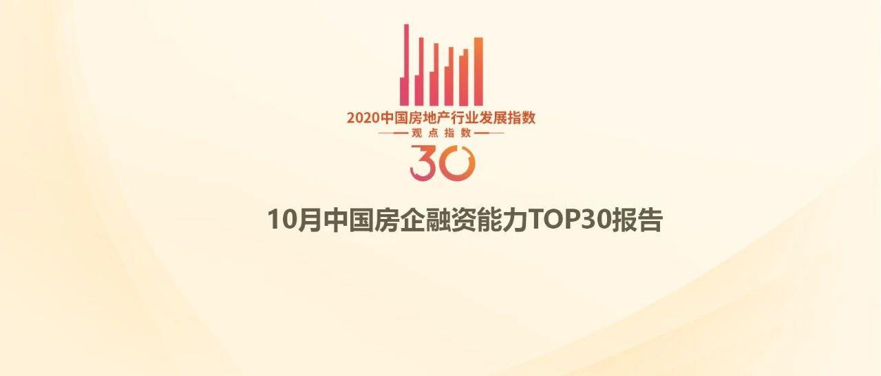 1-10月中国房地产企业融资能力TOP30报告·观点月度指数