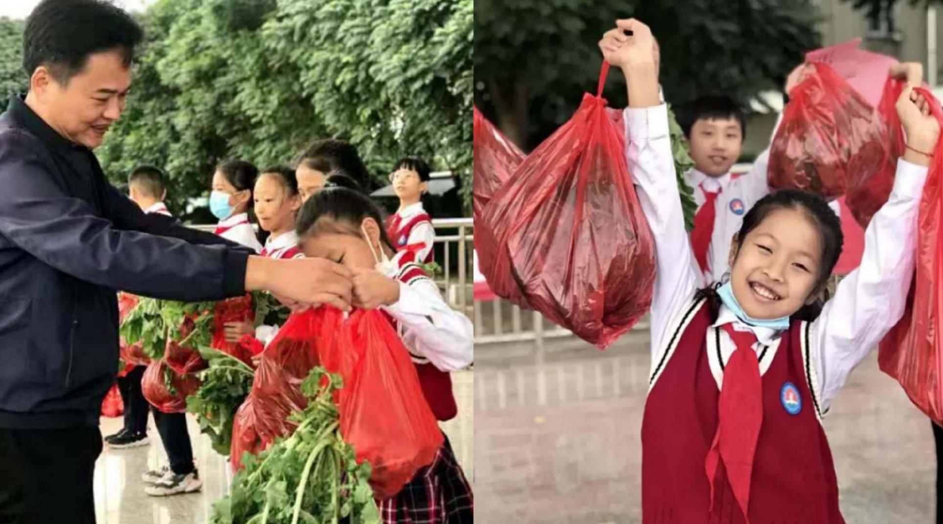 学校给小学生蒜苗萝卜当奖品,家长:已买好肉和排骨
