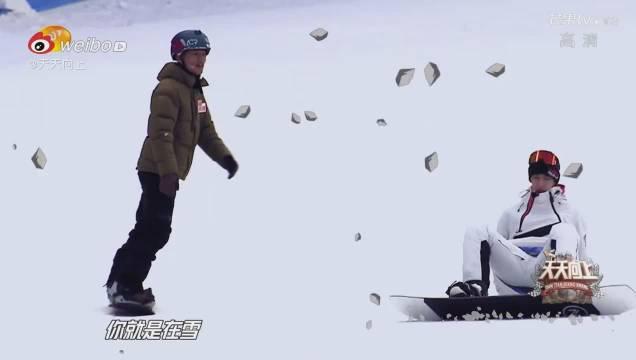 王一博学单板滑雪好快