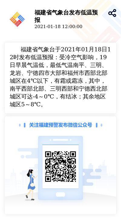 福建省气象台于2021年01月18日12时发布低温预报