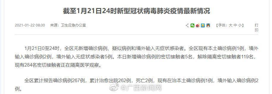 1月21日广西新增确诊病例的密切接触者5名 解除隔离密切接触者119名图片