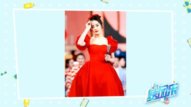 迪丽热巴红色泡泡袖公主裙过新春