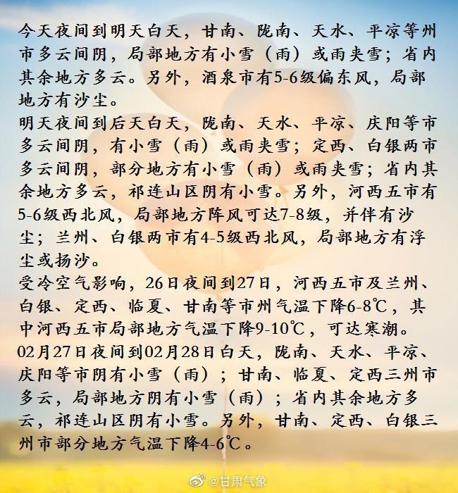 02月25日16时甘肃省短期天气预报