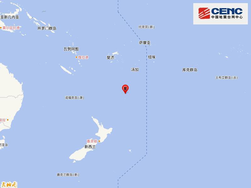 新西兰克马德克群岛发生6.2级地震 震源深度10千米