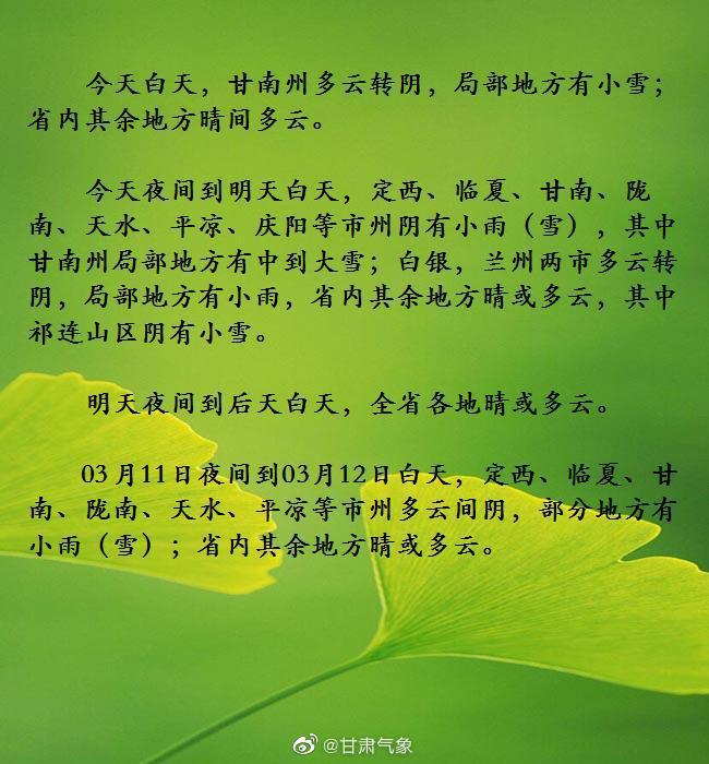 03月09日10时甘肃省短期天气预报