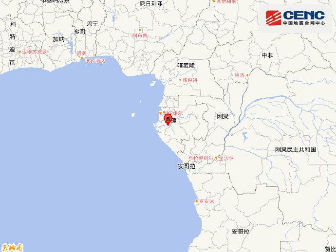 加蓬发生5.5级地震,震源深度10千米