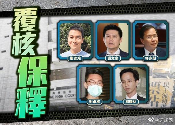 香港高等法院今日处理5名反对派保释复核,其中谭文豪、郭家麒须继续还押图片