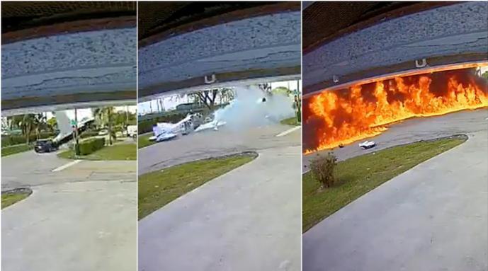 美国小型飞机坠落撞上汽车