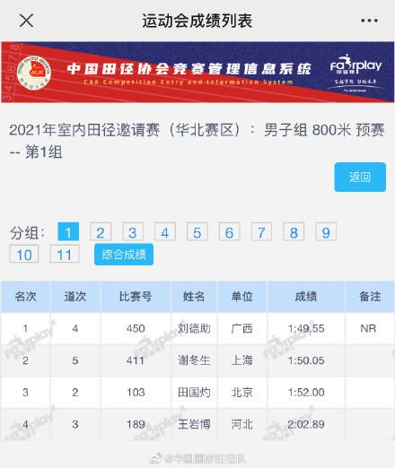 刘德助破男子室内800米全国纪录 原纪录19年创造