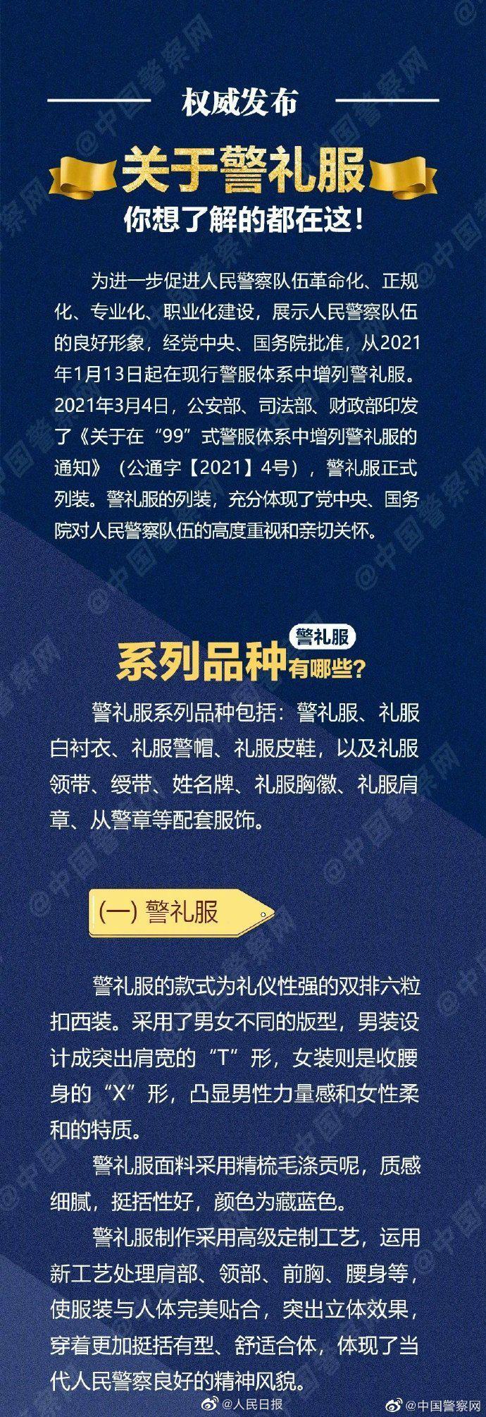 中国人民警察警礼服正式列装图片