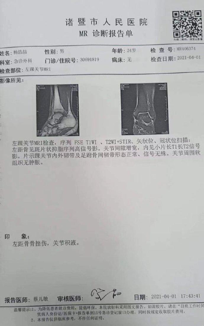 同曦透露杨皓喆伤情:左距骨骨挫伤 未伤到韧带