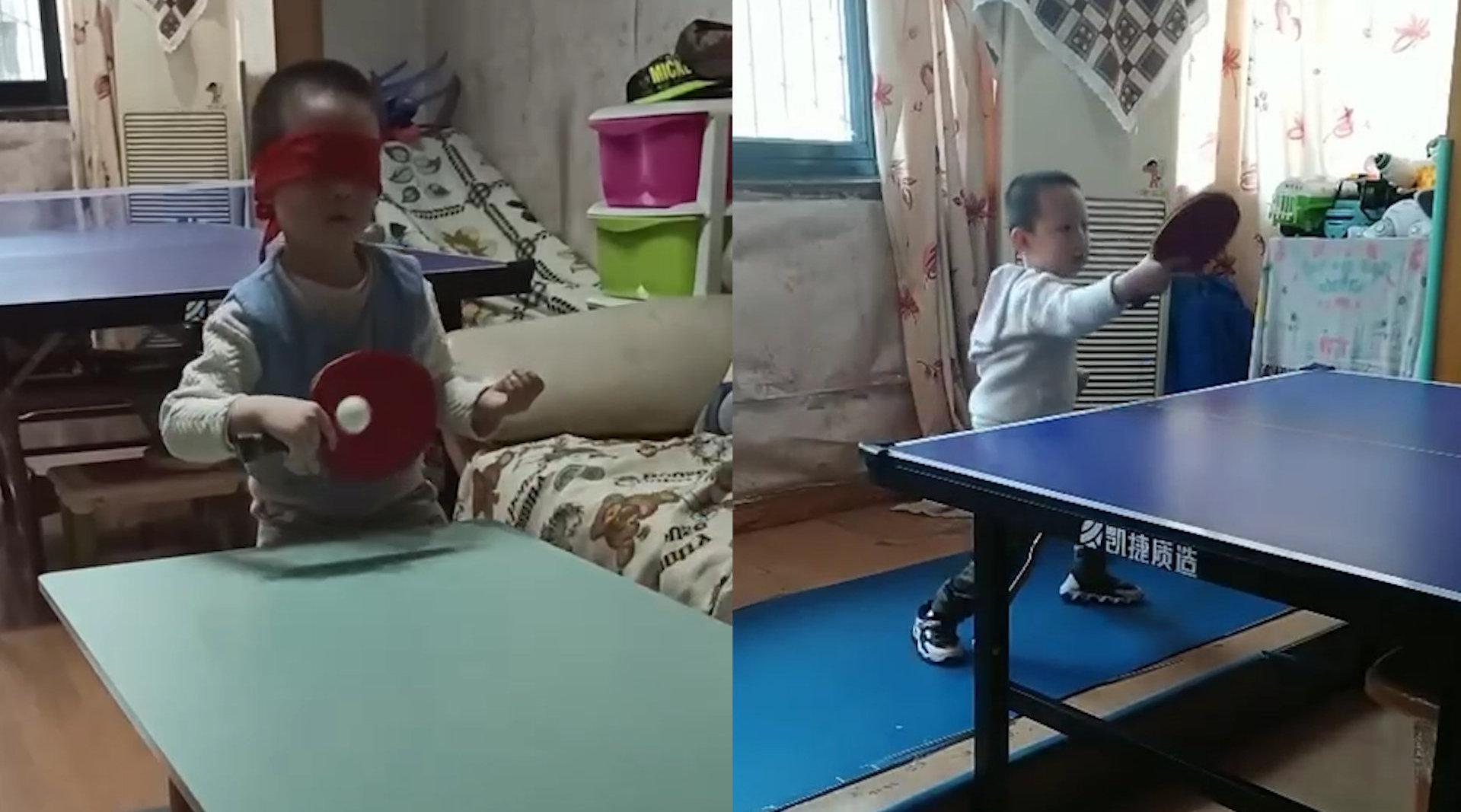 4岁萌娃蒙眼打乒乓球