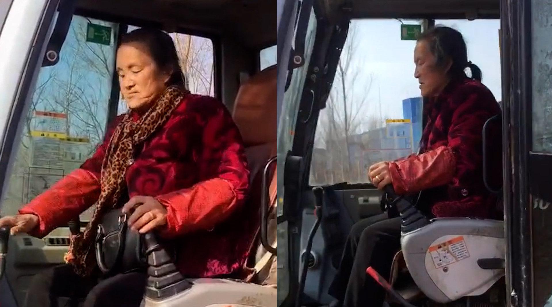 70岁老奶奶开挖掘机20年