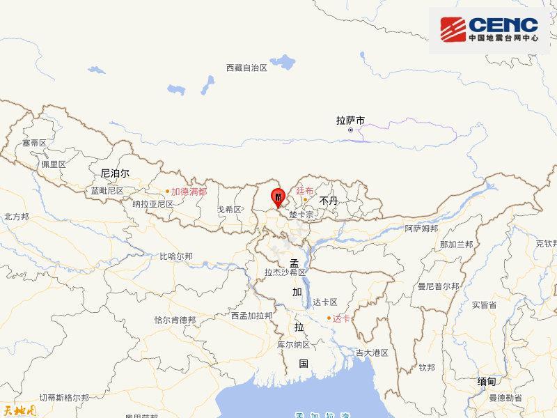不丹发生4.8级地震 震源深度28千米