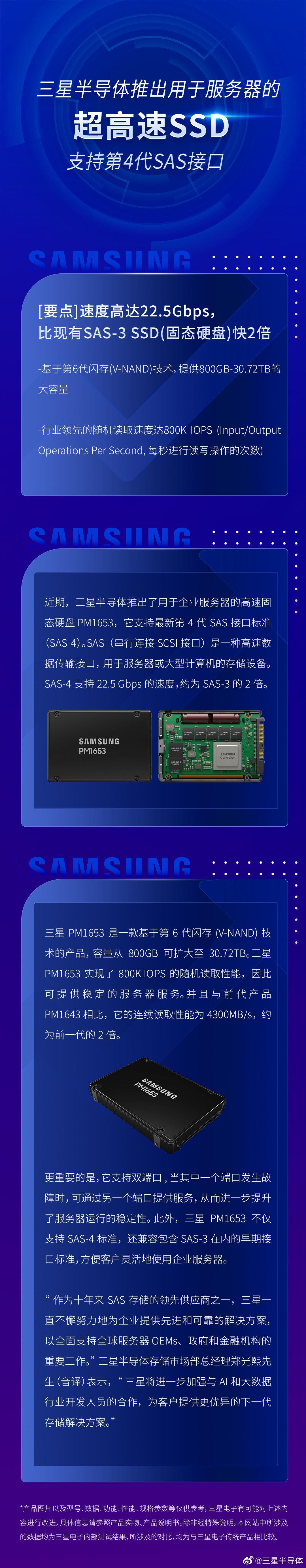 三星推出超高速SSD PM1653,支持第4代SAS接口