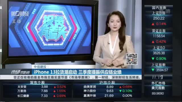 中信建投:iPhone13拉货潮启动 三季度提振供应链业绩|有看投