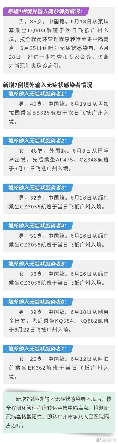 广州新增境外输入确诊病例1例、境外输入无症状感染者7例