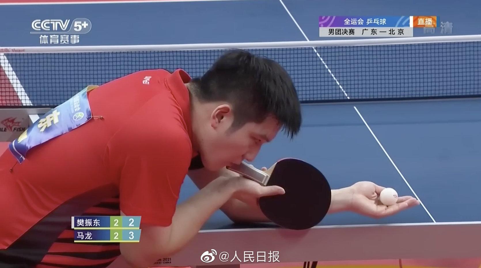 广东队赢得乒乓男团冠军