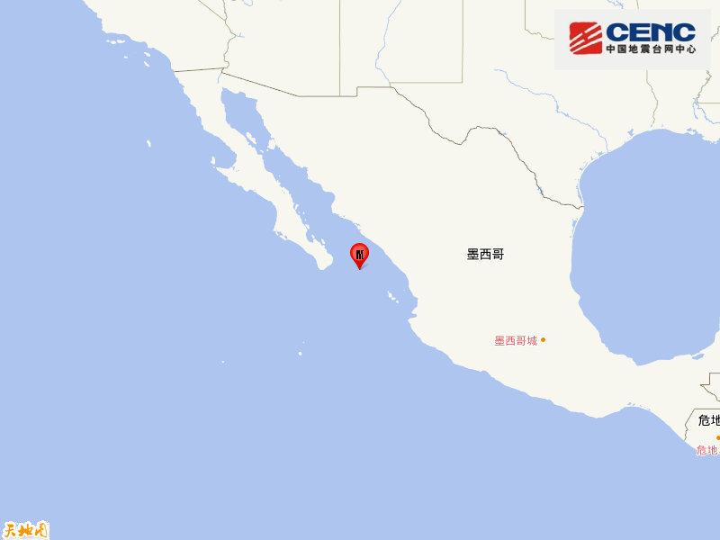墨西哥中部沿岸远海发生5.7级地震,震源深度10千米