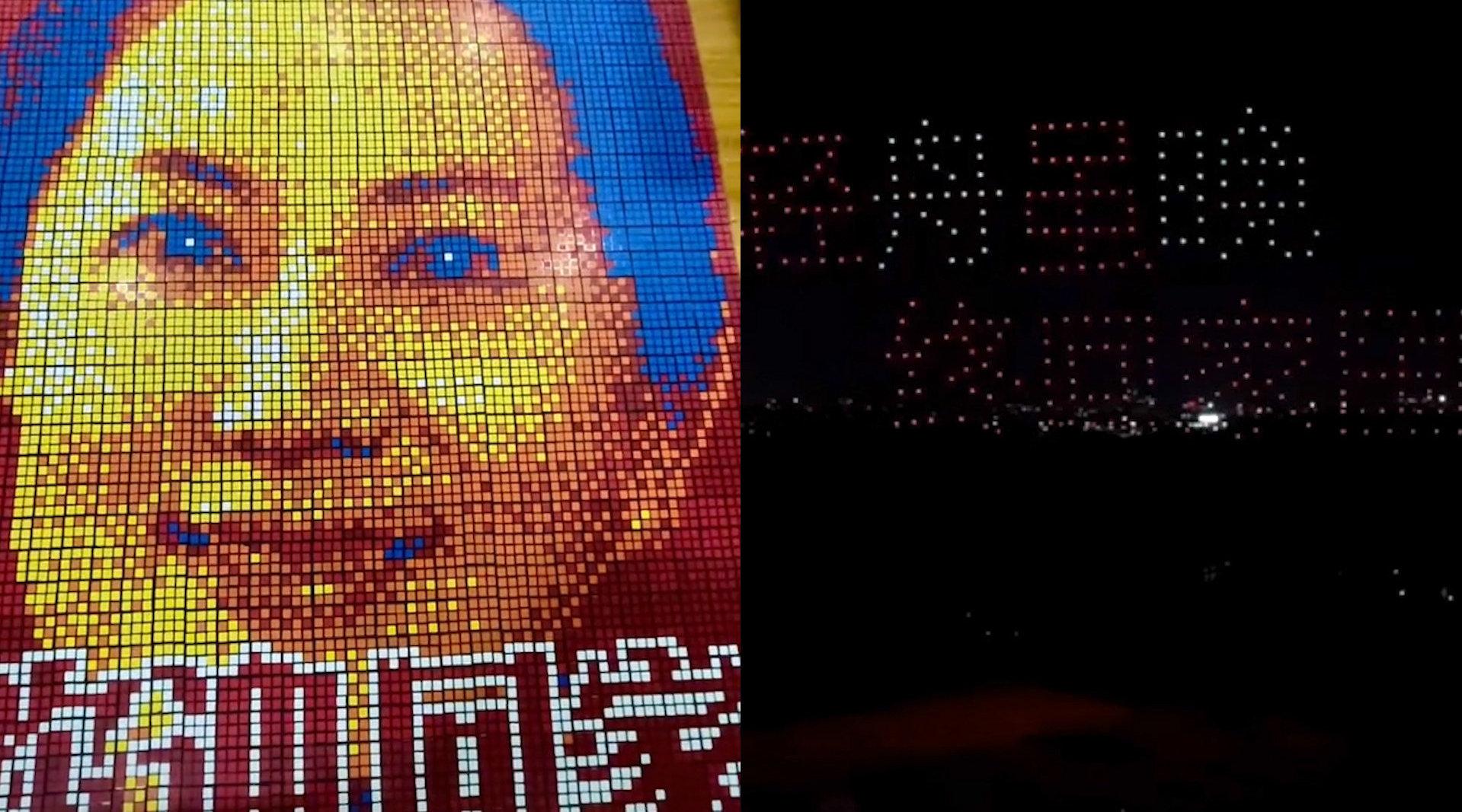 迎孟晚舟回祖国怀抱!40秒看温暖合集:中国红魔方 无人机列阵