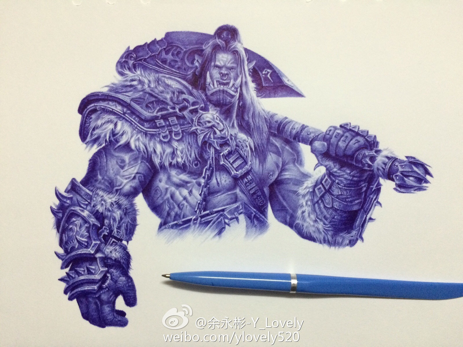 大触魔兽玩家圆珠笔手绘:战歌督军 地狱咆哮