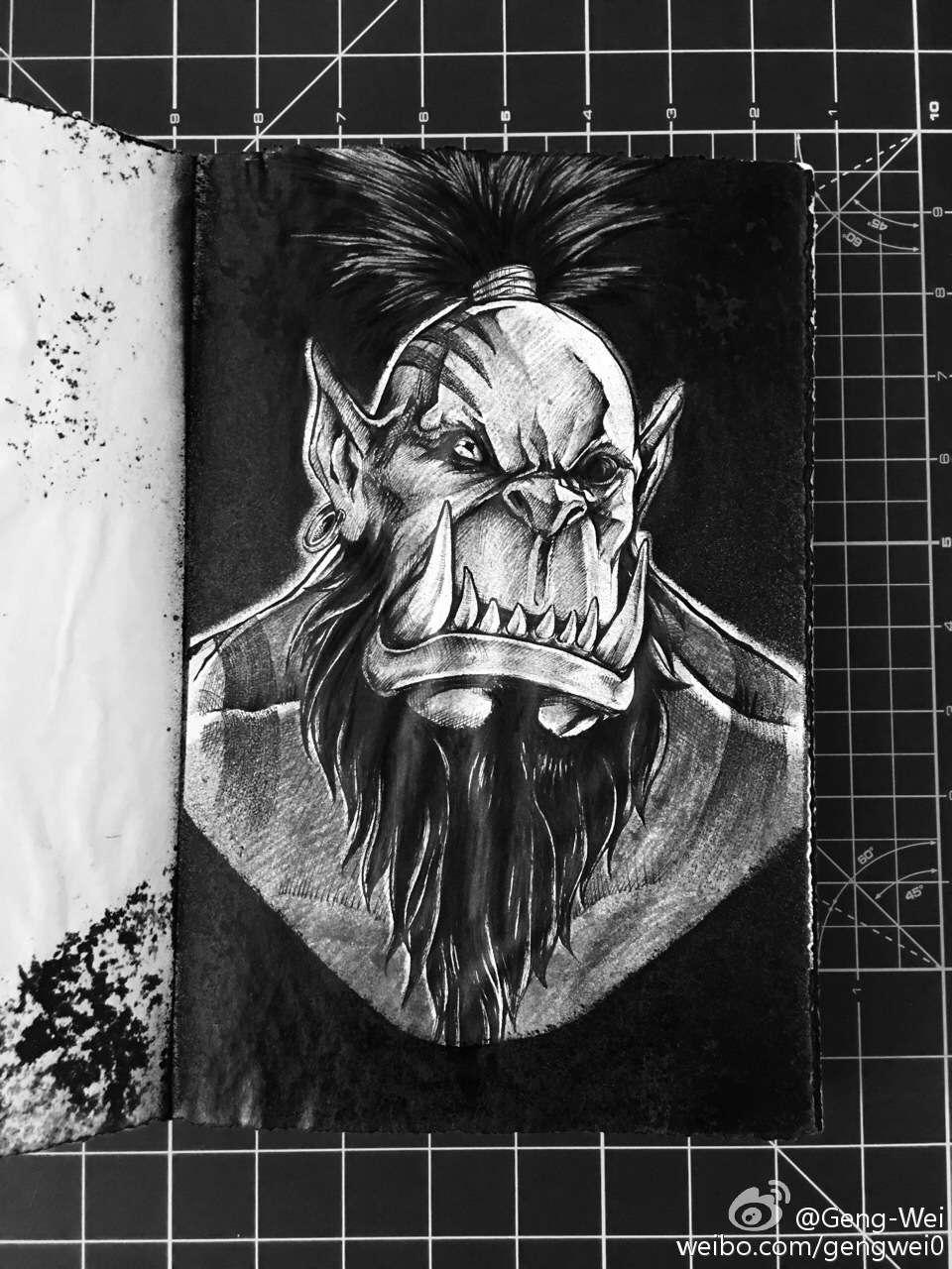 国内大神黑白手绘图:德拉诺钢铁部落七雄头像