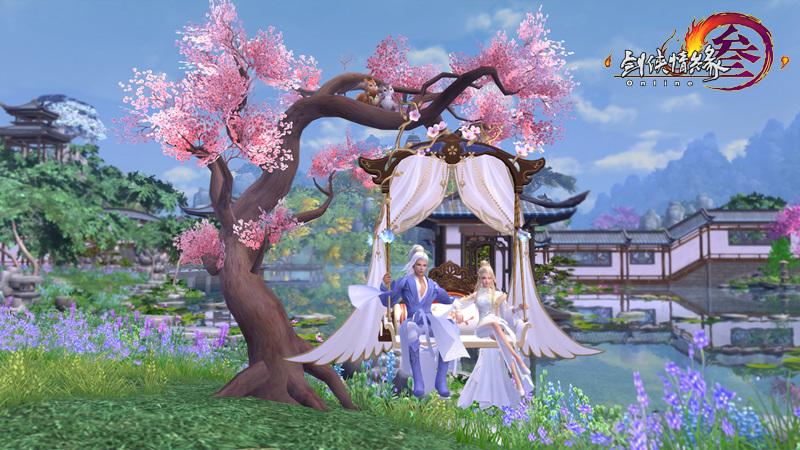 桃花大树与浪漫秋千