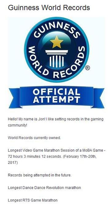 主播AugustArcher的吉尼斯世界纪录认证