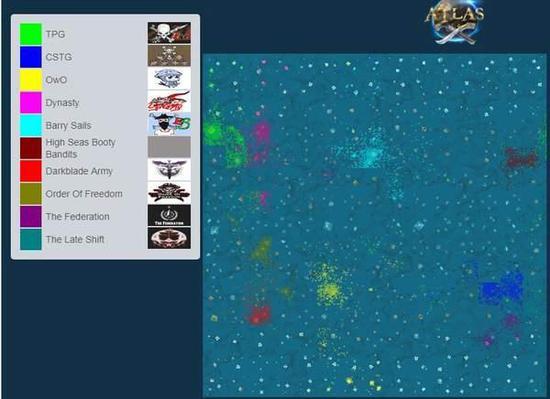 目前玩家工会在《Atlas》美服中的势力分布图